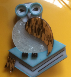 Erstwilder Studious Snow Owl Brooch  in Blue - Wise Owl on Books Pin (SOLD)
